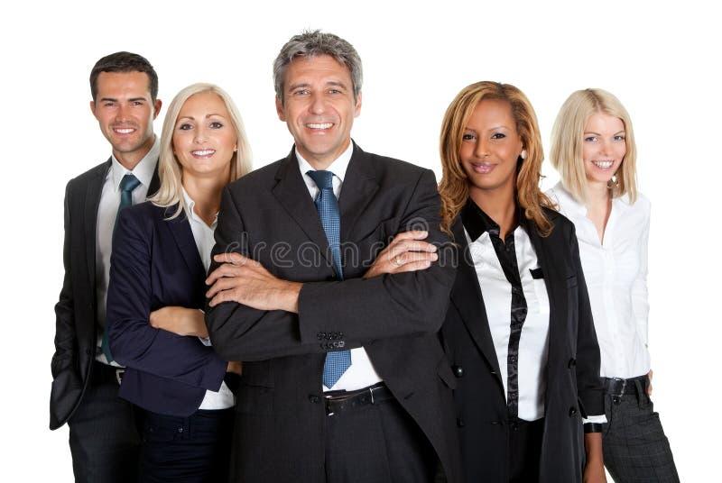 Riusciti colleghi di affari su priorità bassa bianca fotografia stock