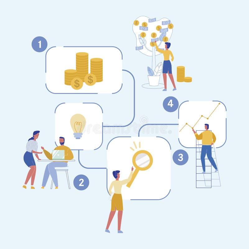 Riusciti lancio di schema e progetto di sostegno illustrazione di stock