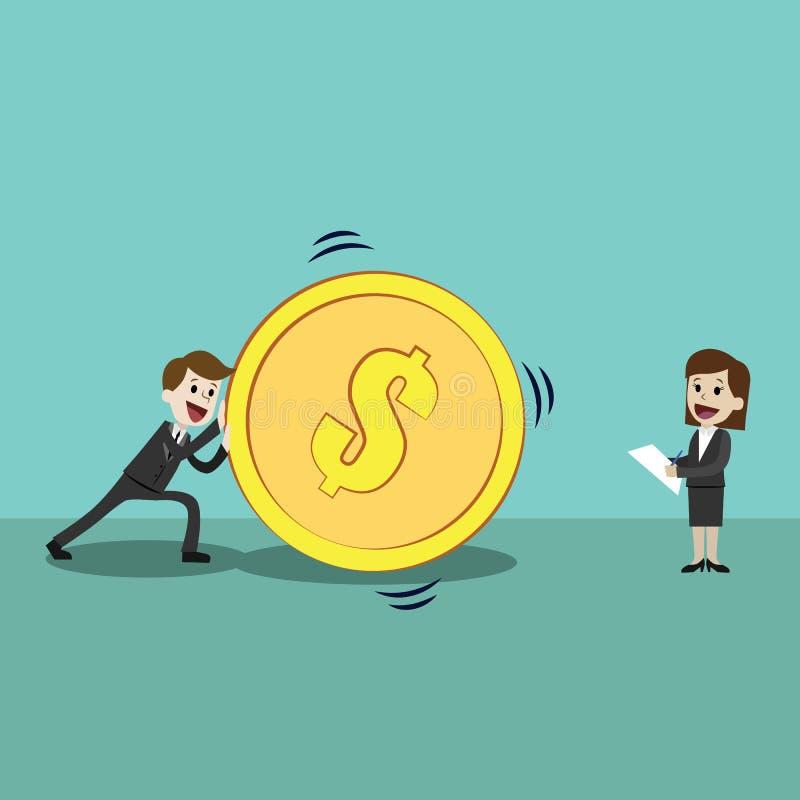 Riusciti uomo d'affari felice e donne di affari che spingono grande moneta dorata Team il lavoro illustrazione di stock