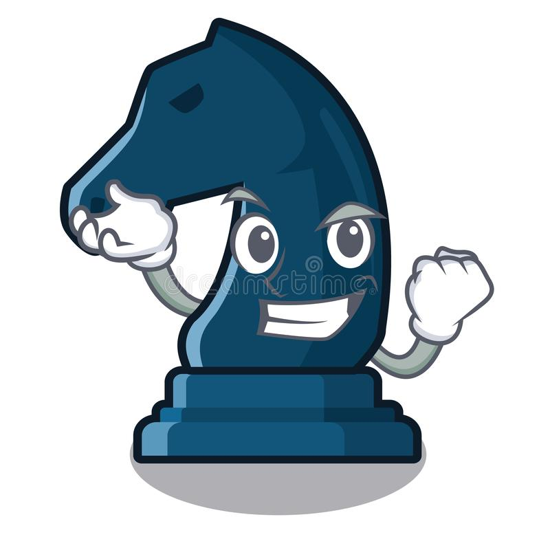 Riuscito cavaliere di scacchi accanto alla tavola del fumetto illustrazione di stock