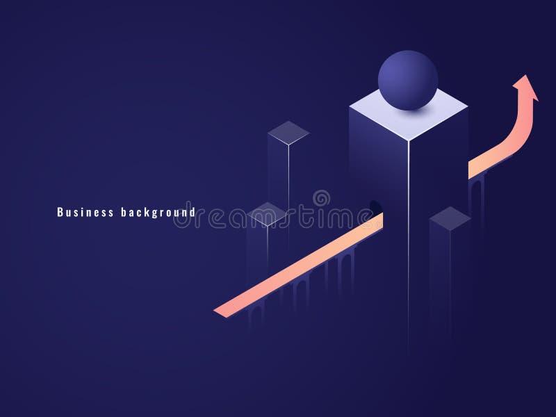 Riuscito concetto di affari, carriera, freccia sull'illustrazione isometrica di vettore, tunnel con illustrazione di stock