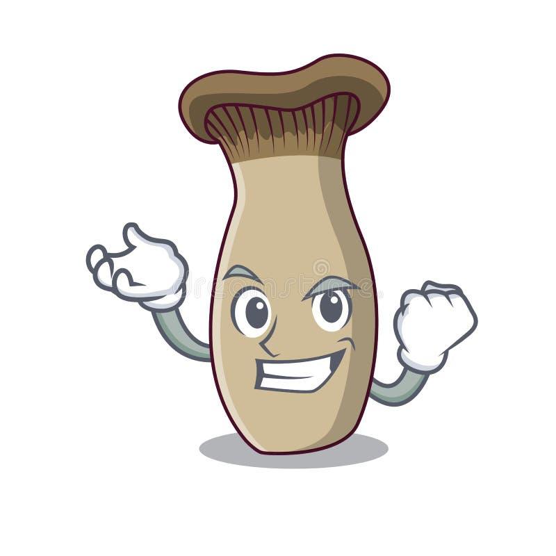 Riuscito fumetto del carattere del fungo della tromba di re illustrazione vettoriale