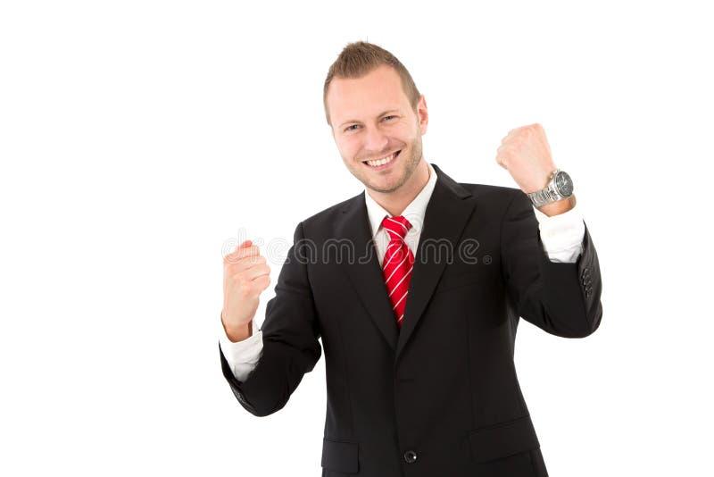 Riuscito giovane uomo d'affari - uomo isolato su fondo bianco fotografie stock libere da diritti