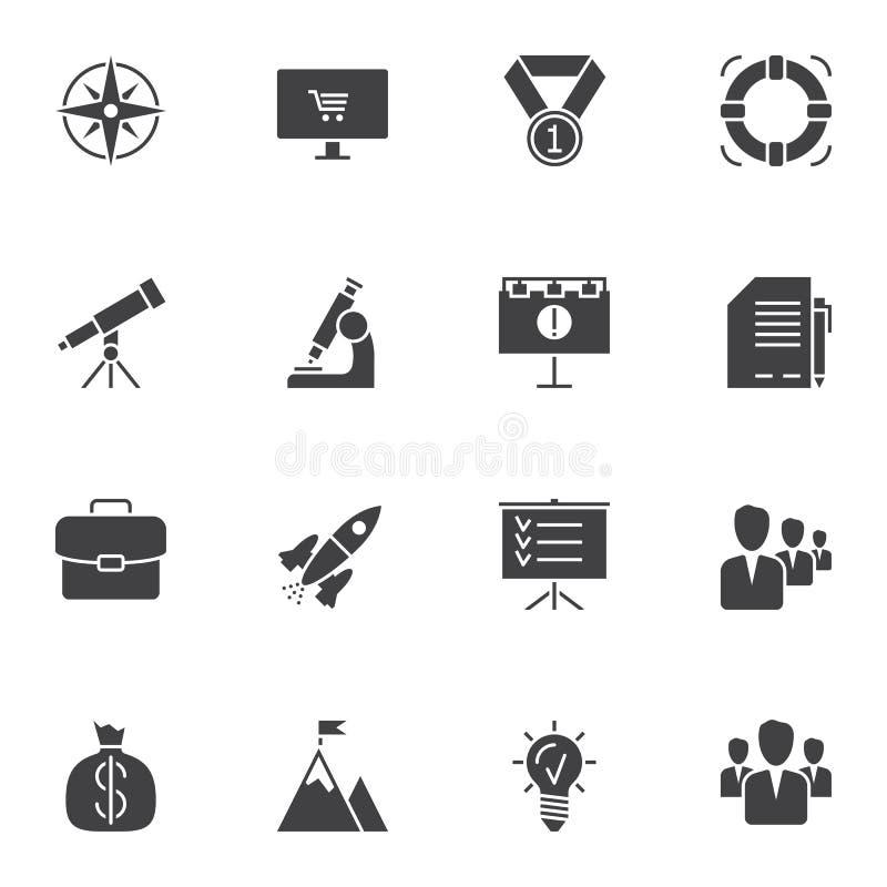 Riuscito insieme delle icone di vettore di partenza di affari royalty illustrazione gratis