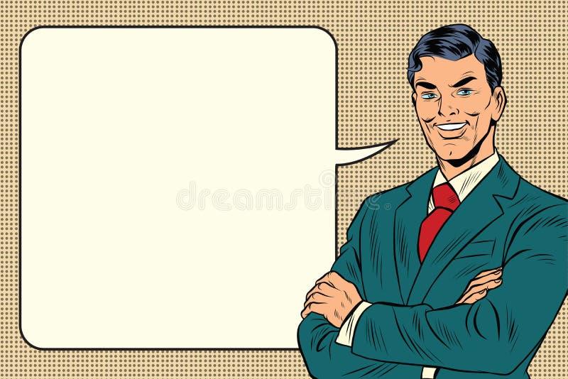 Riuscito retro uomo d'affari, bolla comica royalty illustrazione gratis