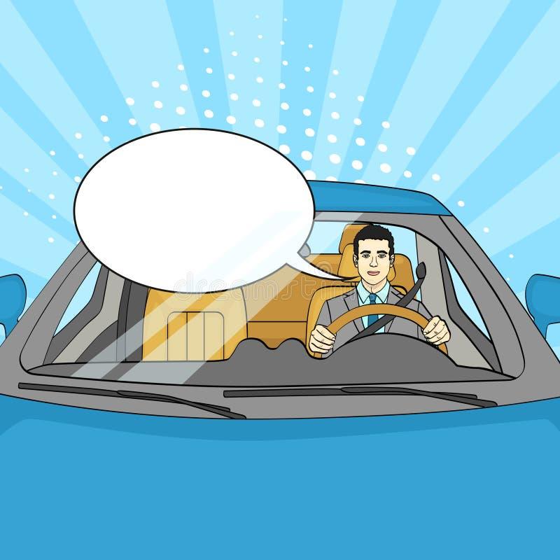 Riuscito uomo d'affari in automobile di lusso Uomo che conduce un cabriolet Pop art bolla del testo di vettore royalty illustrazione gratis