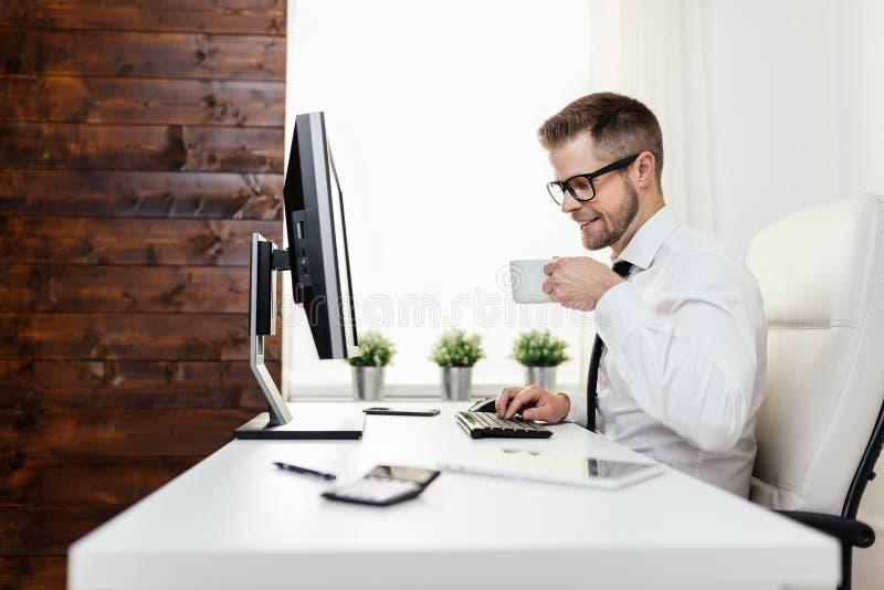 Riuscito uomo d'affari che lavora nel suo ufficio fotografia stock libera da diritti