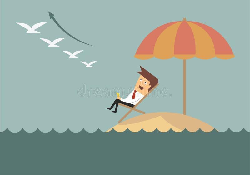 Riuscito uomo d'affari che si rilassa sul raggiro di affari dell'isola della spiaggia illustrazione vettoriale