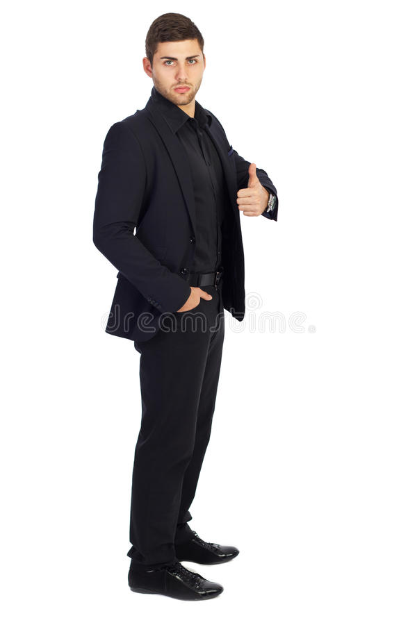 Riuscito uomo d'affari con i pollici su immagine stock