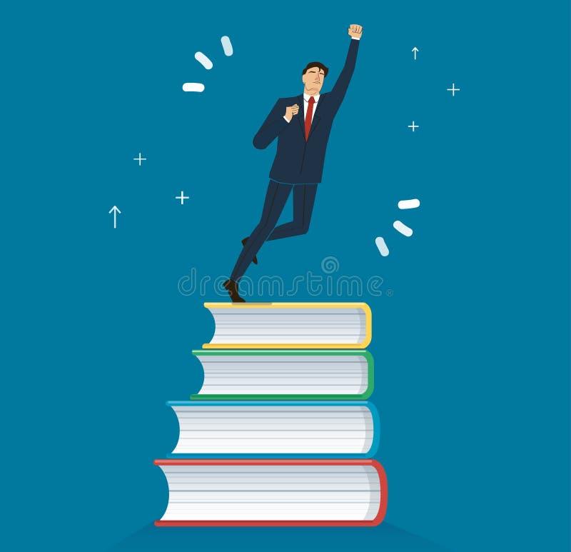 Riuscito uomo d'affari sull'illustrazione di vettore di progettazione dell'icona dei libri, concetti di istruzione royalty illustrazione gratis
