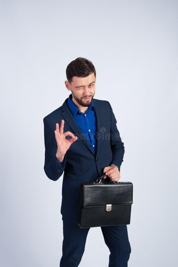 Riuscito uomo d'affari in un vestito blu immagine stock libera da diritti