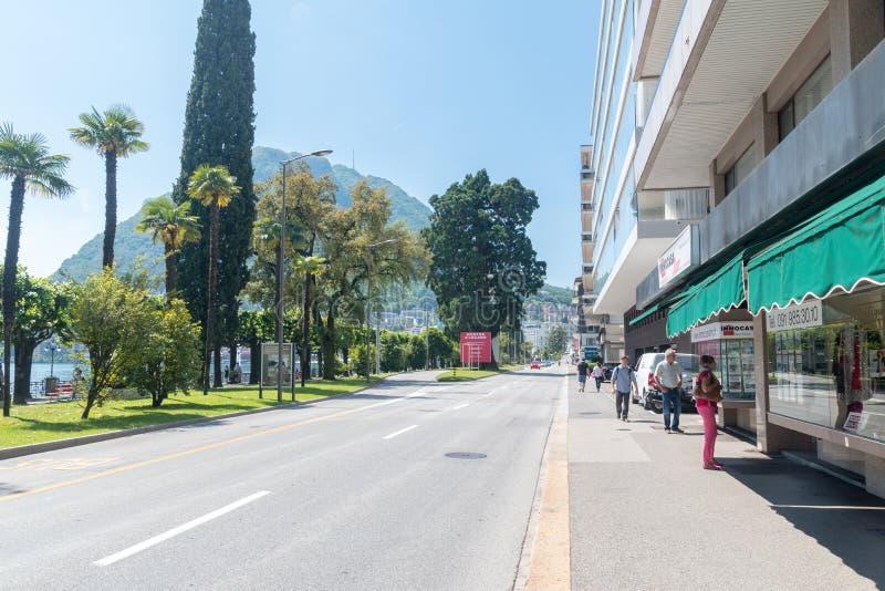 Riva Antonio Caccia-Straße in Lugano stockbilder