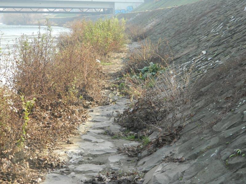Riva del fiume con il canale della parete di pietra immagine stock libera da diritti