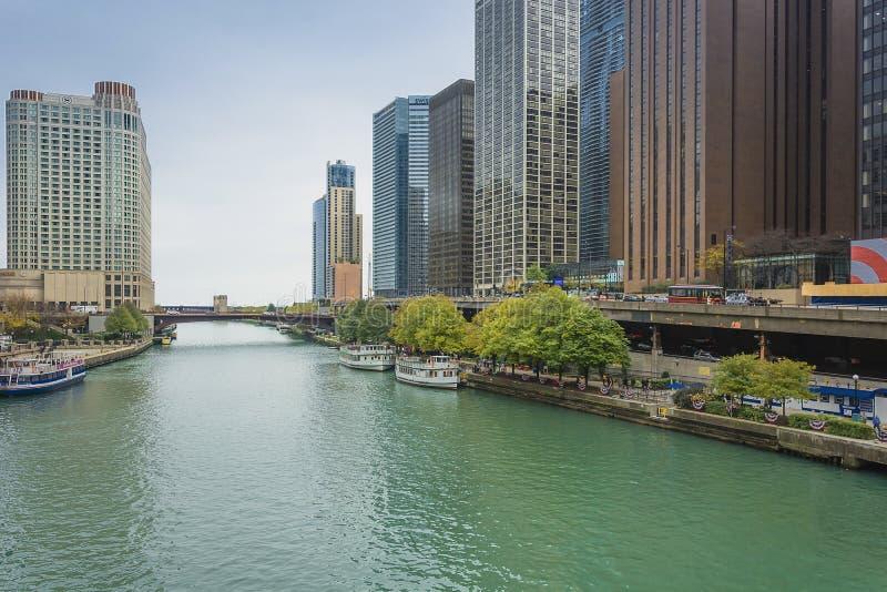 Riva del fiume del centro del Chicago immagini stock