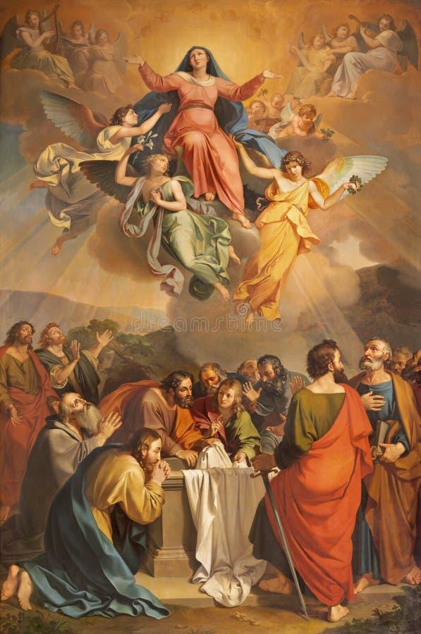 RIVA DEL GARDA, ITALY - JUNE 13, 2019: The painting Assumption in church Chiesa di Santa Maria Assunta by Giuseppe Craffonara. 1830 stock photography