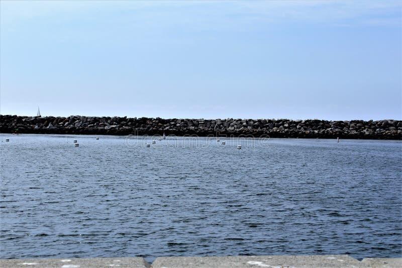 Riva dell'oceano di Portifino California a Redondo Beach, California, Stati Uniti fotografie stock libere da diritti