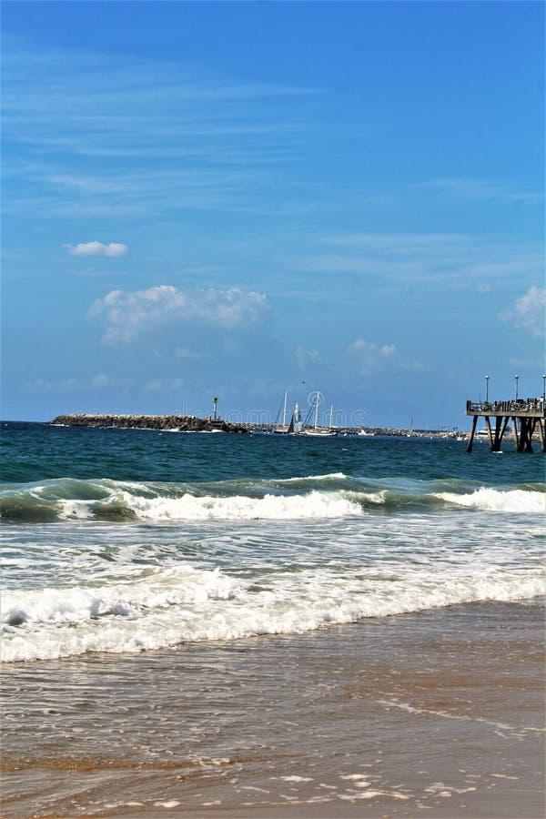 Riva dell'oceano di Portifino California a Redondo Beach, California, Stati Uniti immagini stock libere da diritti