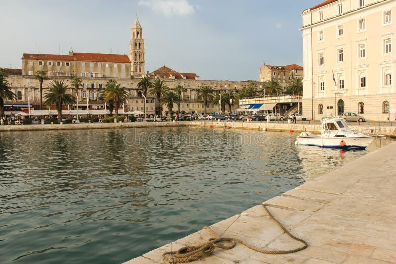 Riva promenad och hamn split croatia arkivfoton