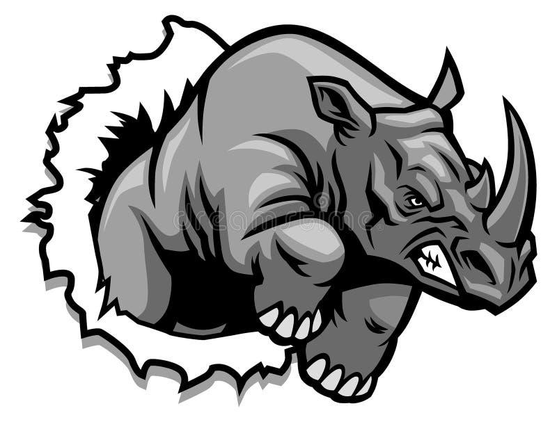 Riva sönder för noshörning royaltyfri illustrationer