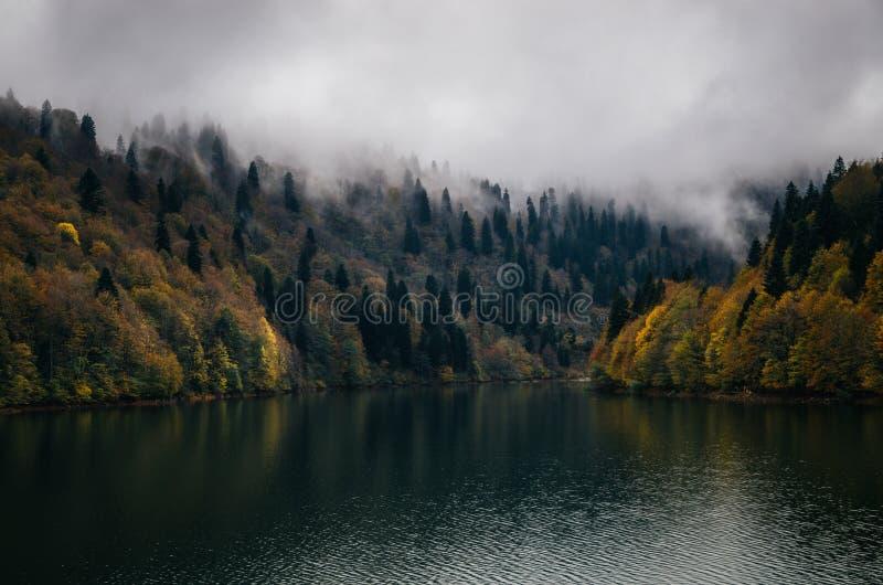Rivage brumeux de lac autumn sous des nuages dans le crépuscule photographie stock