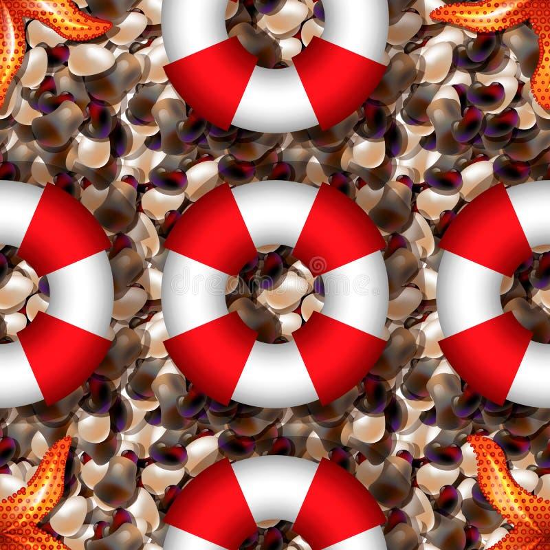 Rivage d'océan avec les pierres colorées de mer Caillou de mer avec l'étoile de mer et la bouée de sauvetage de différentes forme illustration de vecteur