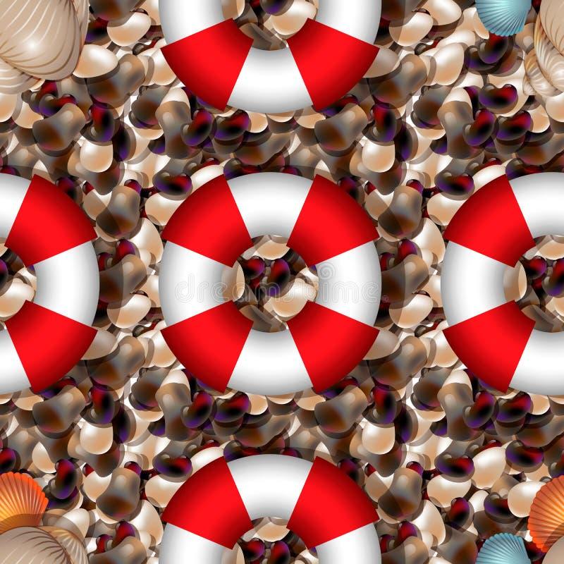 Rivage d'océan avec les pierres colorées de mer Caillou de mer avec la bouée de sauvetage de fnd de coquilles de différentes form illustration stock
