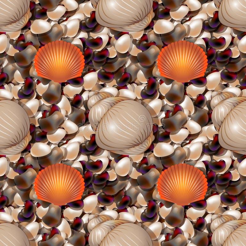 Rivage d'océan avec les pierres colorées de mer Caillou de mer avec le modèle sans couture de coquilles de différentes formes illustration de vecteur