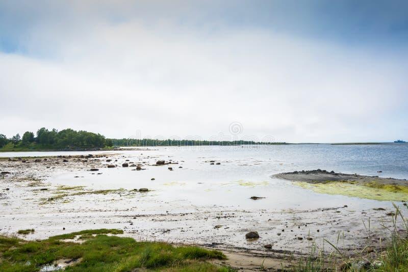Rivage de la mer blanche dans Solovki pendant la marée basse photos stock