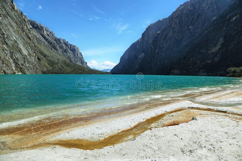 Rivage de lac Llanganuco Orconcocha photo libre de droits