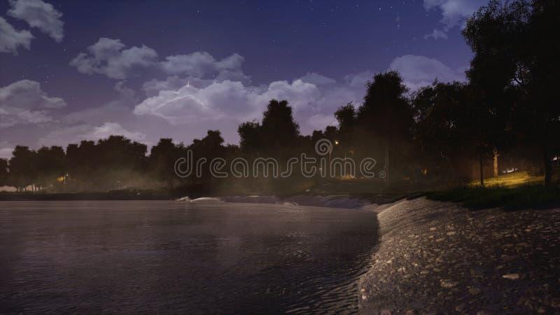 Rivage de lac ou d'étang de forêt la nuit foncé automne illustration de vecteur
