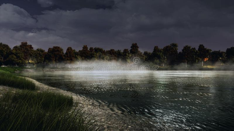 Rivage de lac ou d'étang mystique calme de forêt au crépuscule image libre de droits