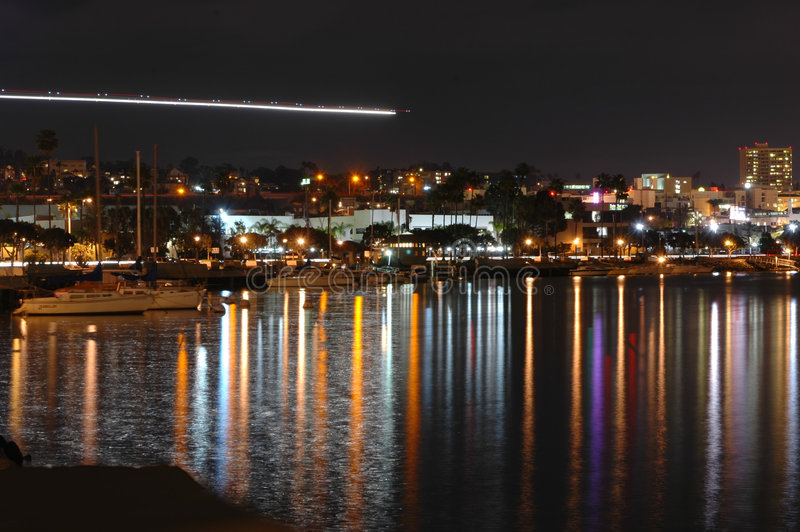 Rivage de San Diego la nuit photo libre de droits