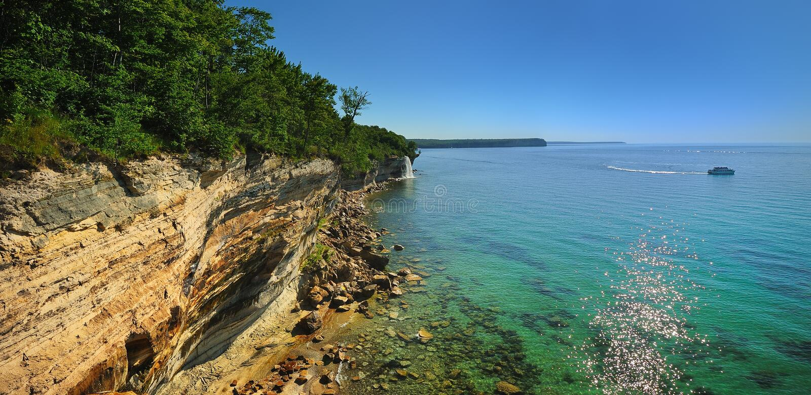 Rivage national décrit de lac rocks, Michigan Etats-Unis photos stock