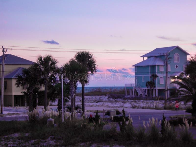 Rivages de Golfe, coucher du soleil de l'Alabama images libres de droits