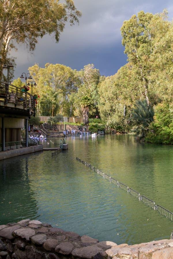 Rivages de Jordan River au site baptismal, Israël image libre de droits