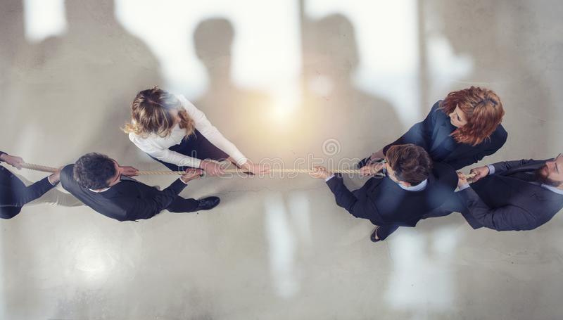 Rival business man and woman compete for the command by pulling the rope. double exposure. Rival business man and woman compete in office for the command by vector illustration