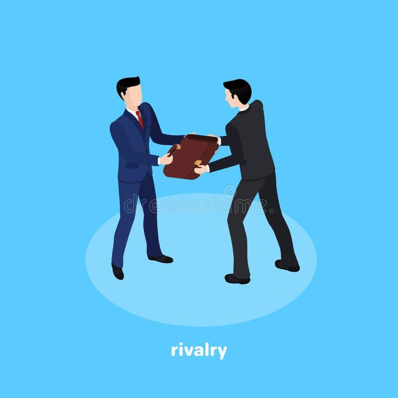 Rivalidade no negócio, uma luta entre dois executivos ilustração royalty free