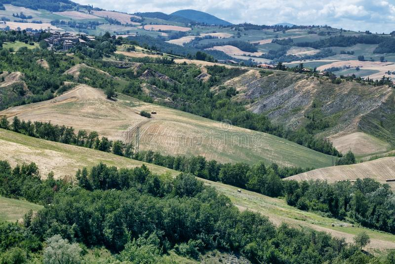 Rivalta Di Lesignano Πάρμα, Ιταλία: θερινό τοπίο στοκ εικόνα