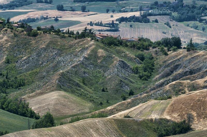 Rivalta di Lesignano Parma, Italien: sommarlandskap royaltyfria bilder