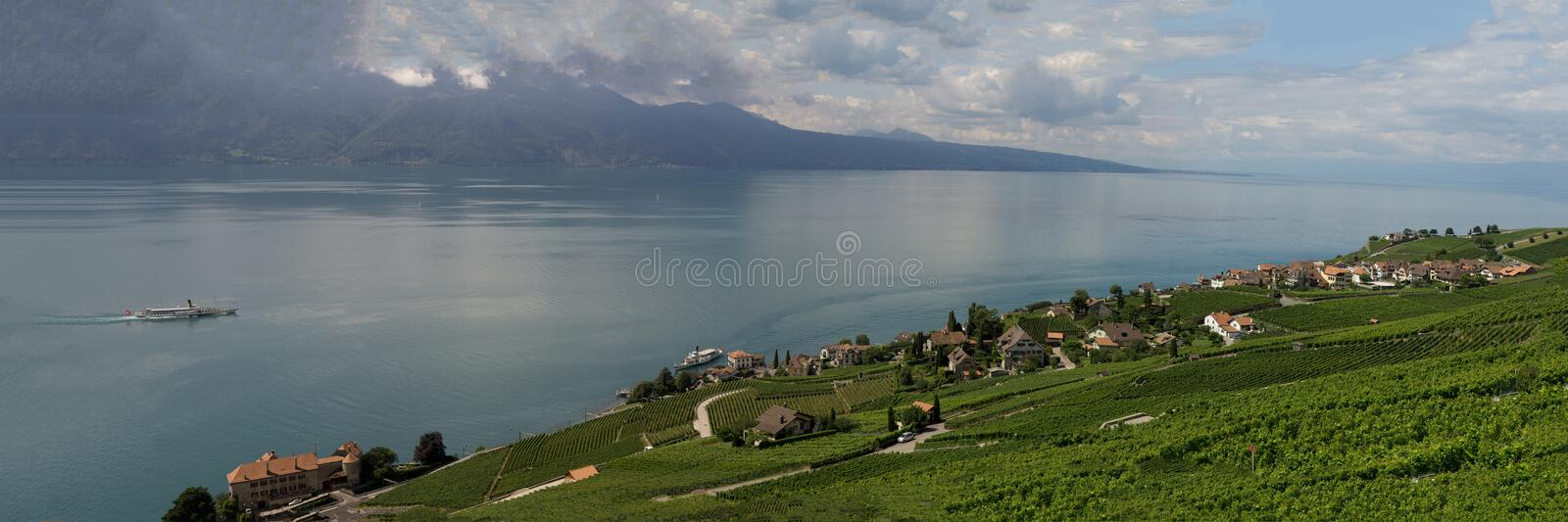Panoramic view on Rivaz and Lake Geneva. Rivaz, part of the Bourg en Lavaux community in the canton of Vaux, Switzerland, is facing the Lake Geneva. Historic royalty free stock images