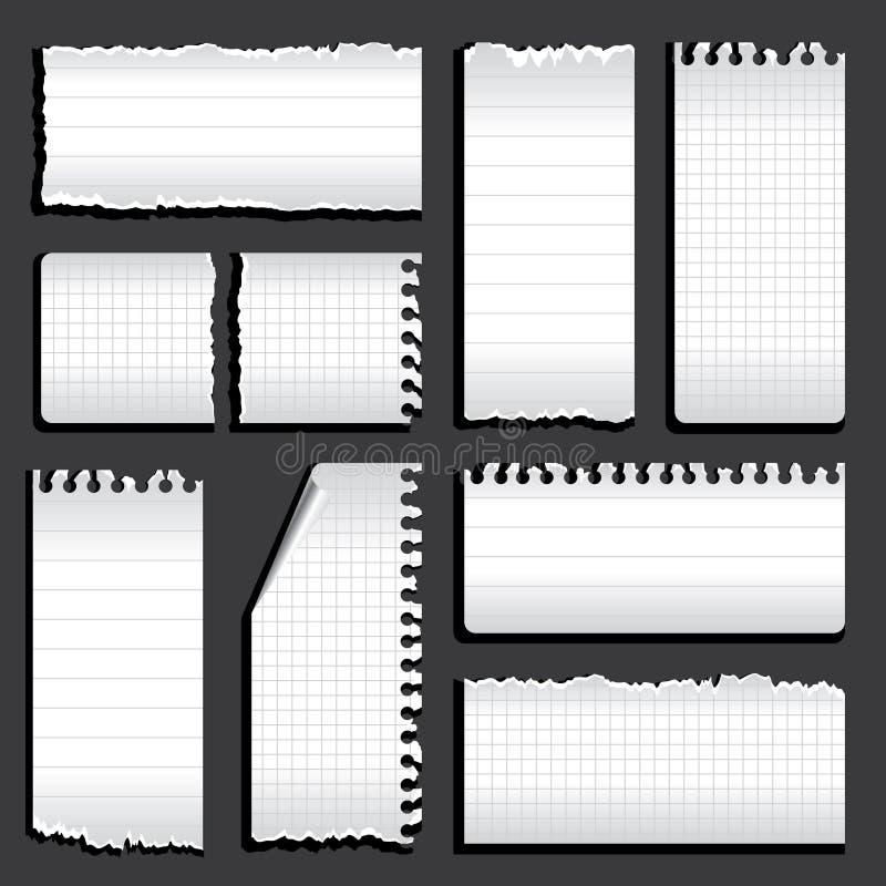 Riven anteckningsbok vektor illustrationer