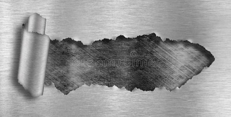 riven sönder metall för bakgrundsgrungehål royaltyfria bilder