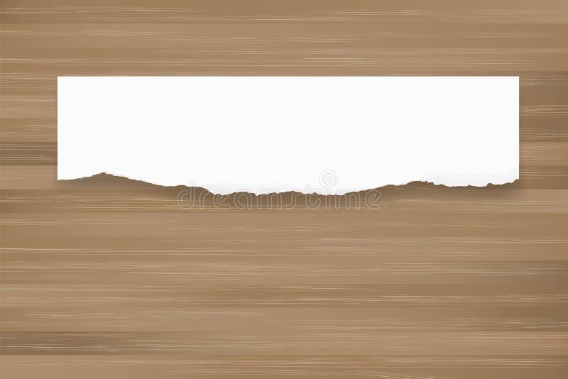 Riven sönder pappersbakgrund på brun trätextur rivet kantpapper vektor illustrationer