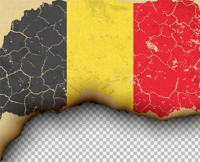 Riven sönder sönderriven pappers- bränning för Belgien flaggaland vektor illustrationer