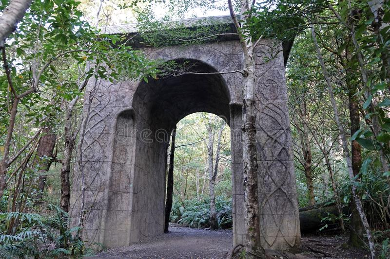 Rivendell Gate near Wellington, New Zealand. Rivendell, the site where Arwen and Aragorn kissed, in Peter Jackson's Lord of the Rings trilogy filmed in stock photo