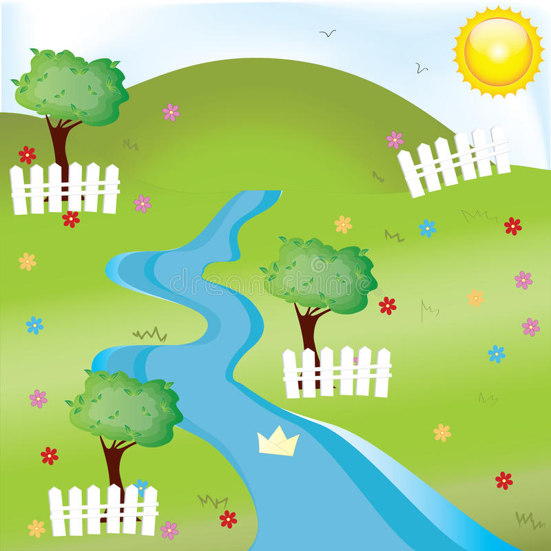 Download River stock vector. Image of lush, environment, tree - 25432482