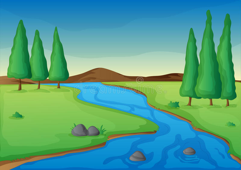 Download River stock vector. Image of grasses, drawing, environment - 26992172