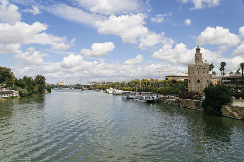 River. Guadalquivir in Sevilla in the summer royalty free stock photography