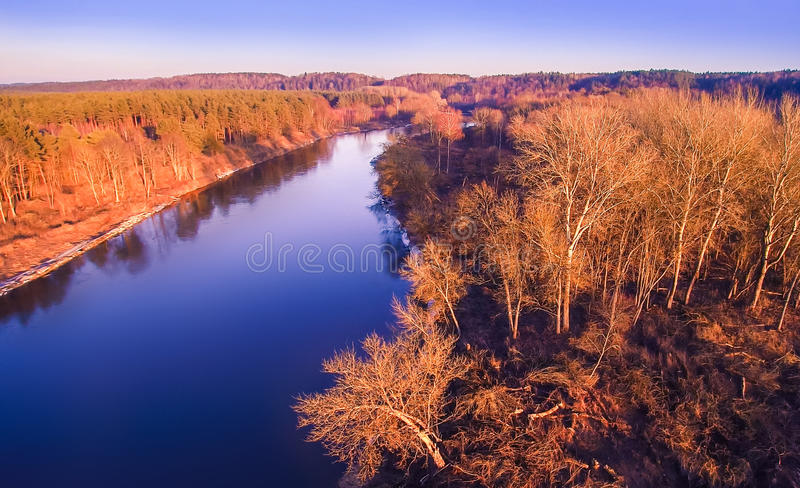 River aerial view. River Neris aerial view at sunset light, Lithuania stock photo