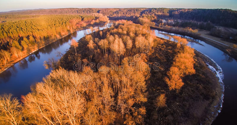 River aerial view. River Neris aerial view at sunset light, Lithuania royalty free stock images